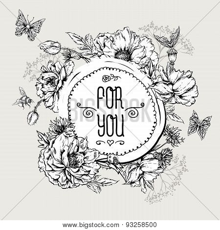 Summer Monochrome Vintage Greeting Card with Blooming Poppies