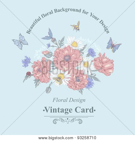 Summer Vintage Greeting Card with Blooming Red Poppies