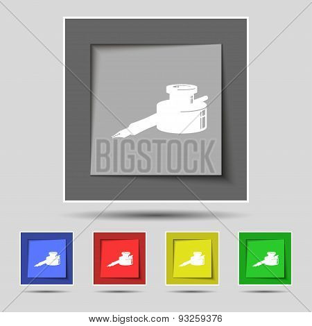 Pen And Ink Icon Sign On Original Five Colored Buttons. Vector