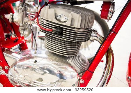 Detail Of The Head Of The Engine Of A Vintage Motorcycles