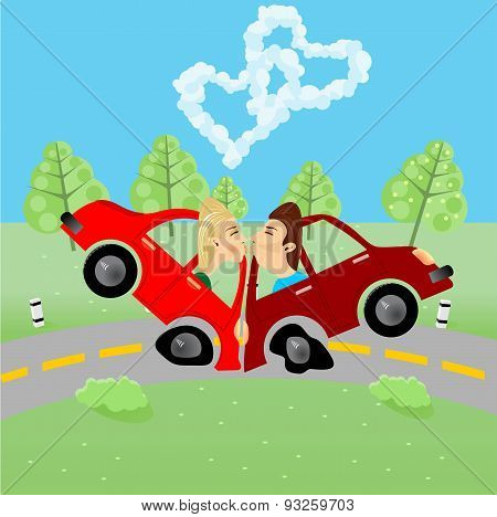 man and woman kissing in an accident