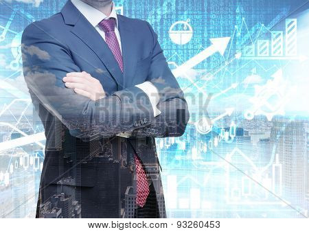 Analyst With Crossed Hands Is Standing In Front Of The Digital Financial Calculations And Prediction