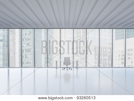 A Workplace In A Modern Panoramic Office In New York City. A Concept Of The Financial Consulting Ser