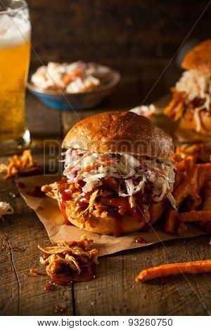 Homemade Pulled Chicken Sandwich