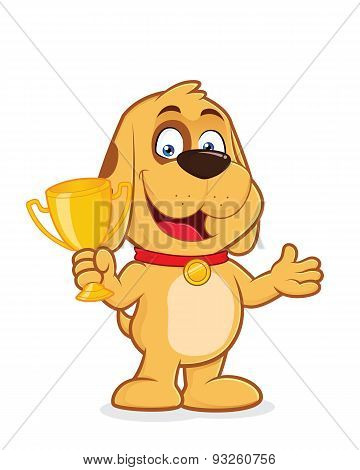 Dog holding a trophy cup