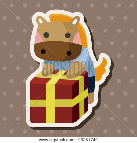 Animal Horse Worker Cartoon Theme Elements