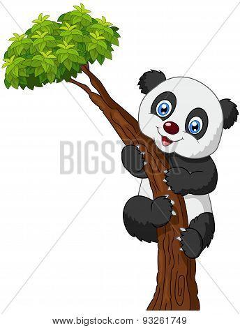 Cute panda cartoon climbing tree