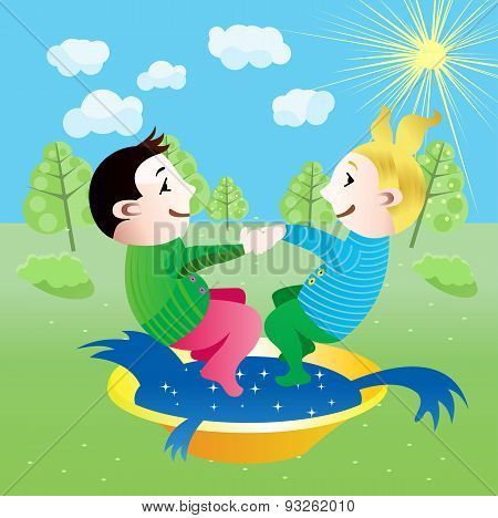 boy and girl splashing in basin