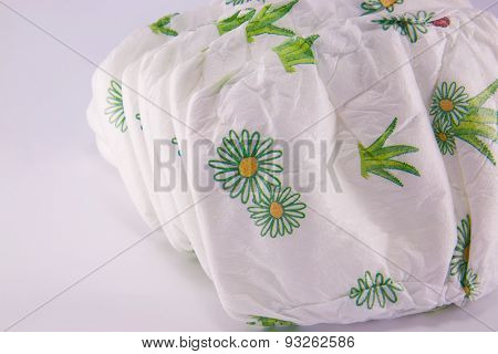 Stack Of Diapers Isolated