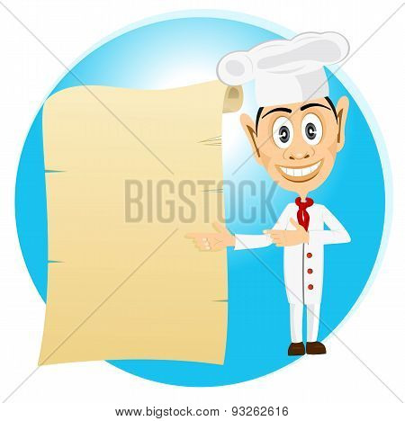 chef holding old paper scroll