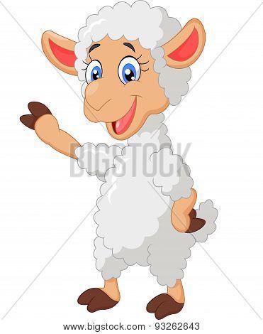 Cartoon lamb waving