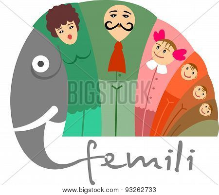 happy family concept with elephant