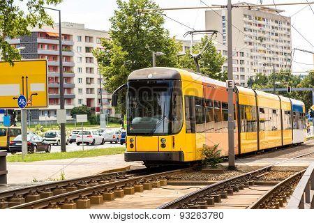 Modern Tram In Dresden