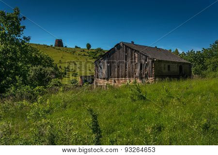 The old barn in a field