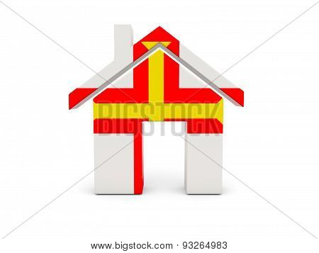 Home With Flag Of Guernsey