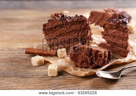 Tasty chocolate cake on table, close-up