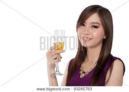 Glamorous Asian Girl Smile, Isolated On White