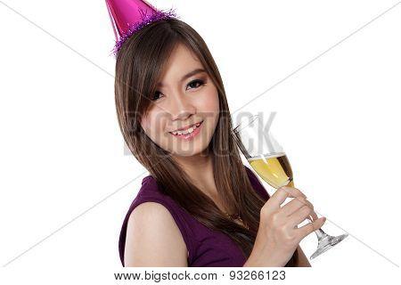 Asian Party Girl Smile, On White