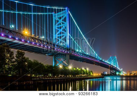 The Benjamin Franklin Bridge At Night, In Philadelphia, Pennsylvania.