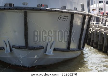 NEW YORK - MAY 22 2015: The bow of the YP 707 US Naval Academy Yard Patrol Craft used for at-sea training and research purposes by the students, moored at Pier 86 during Fleet Week NY 2015.