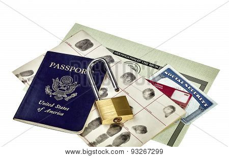 Identity Documents Open Padlock