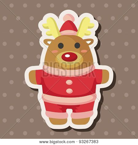Animal Moose Cartoon Christmas Style Theme Elements