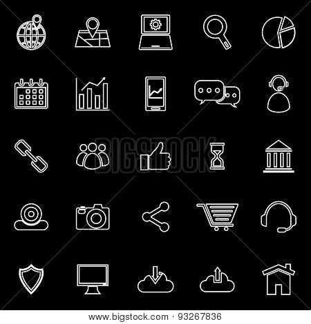 Seo Line Icons On Black Background
