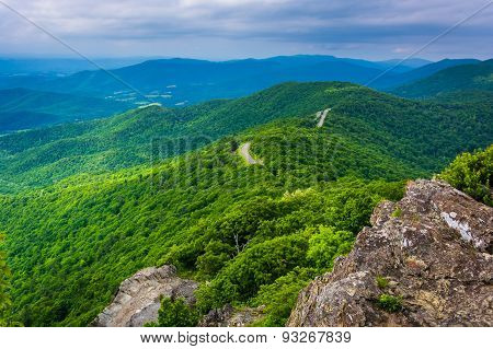 View Of The Blue Ridge Mountains From Little Stony Man Mountain, In Shenandoah National Park, Virgin