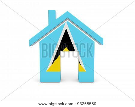 Home With Flag Of Saint Lucia