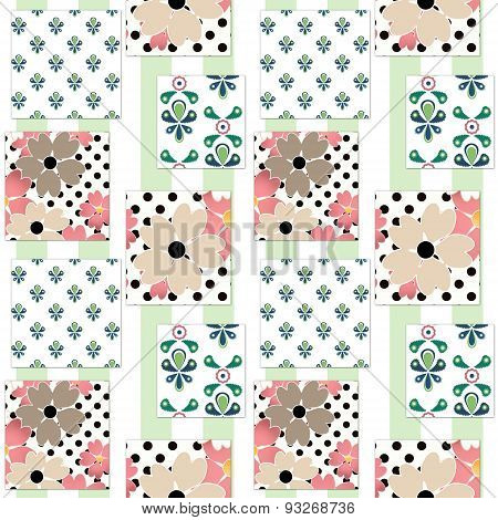 Patchwork Floral Pattern Background