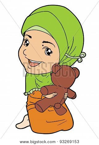 Illustration of Indonesian muslim girl