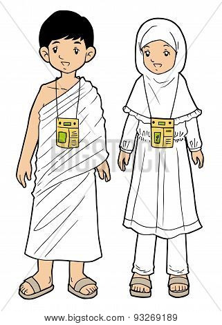 Muslim pilgrim boy and girl