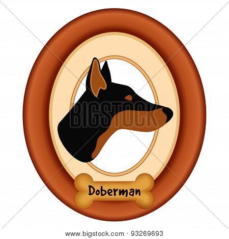 Doberman Pinscher Portrait, Wood Frame, Dog Bone Treat Tag