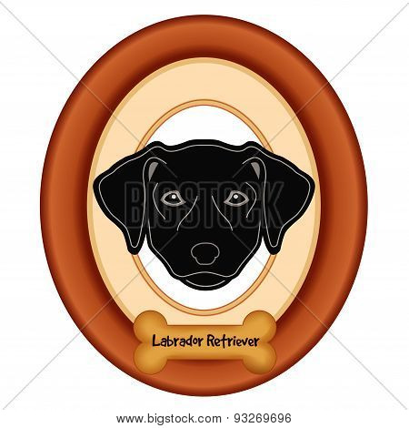Labrador Retriever Portrait, Wood Frame, Dog Bone Treat Tag