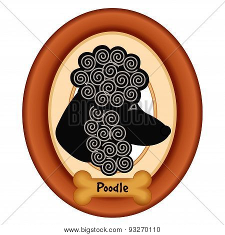 Poodle Portrait, Wood Frame, Dog Bone Treat Tag