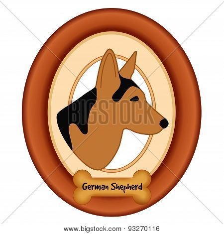 German Shepherd Portrait, Wood Frame,  Dog Bone Treat Tag