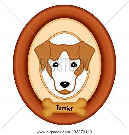Terrier Portrait, Wood Frame, Dog Bone Treat Tag