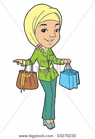 Muslim Girl with Bags