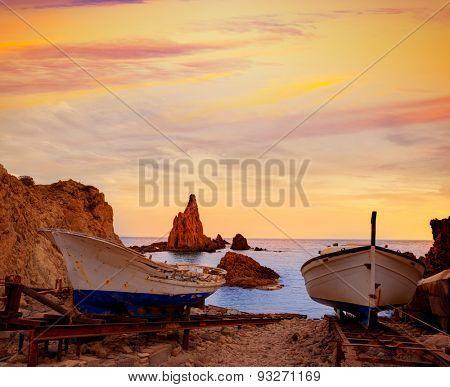 Almeria Cabo de Gata las Sirenas sunset rocks in Mediterranean sea of Spain