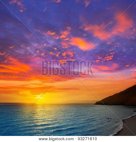 Almeria Cabo de Gata sunset from lighthouse in Mediterranean sea of Spain