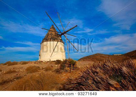 Almeria Molino de los Genoveses windmill traditional in Spain Cabo de Gata