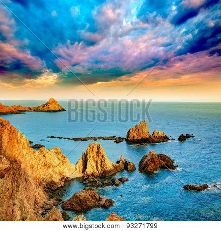 Almeria Cabo de Gata las Sirenas point sunset rocks in Mediterranean sea of Spain