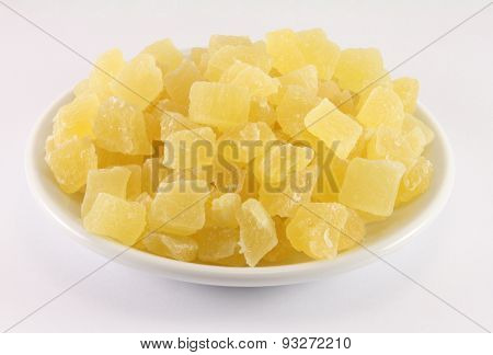 Dried Pineapple On A White Porcelain Dish