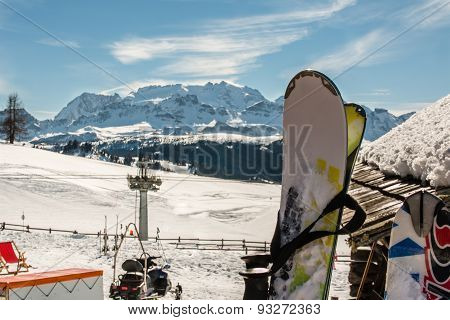 Ski, Lift Chair Structure, Snowmobile And Mountains