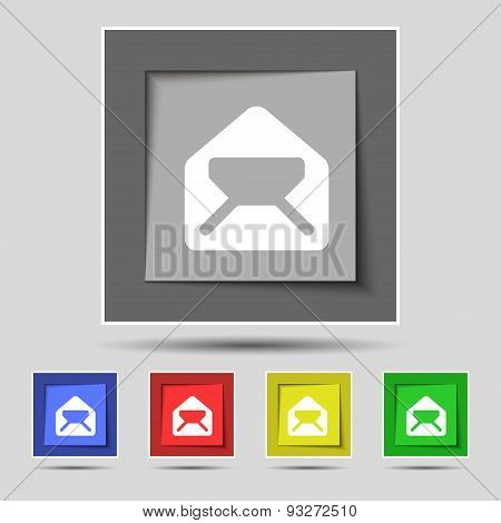 Mail, Envelope, Letter Icon Sign On Original Five Colored Buttons. Vector