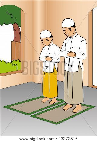 Asian muslim man praying