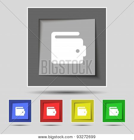 Purse Icon Sign On Original Five Colored Buttons. Vector