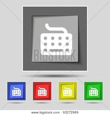 Keyboard Icon Sign On Original Five Colored Buttons. Vector