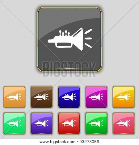 Trumpet, Brass Instrument Icon Sign. Set With Eleven Colored Buttons For Your Site. Vector