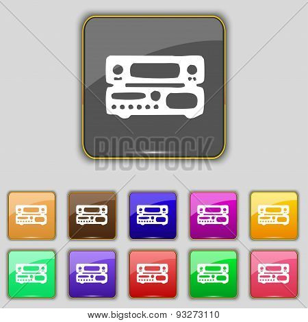 Radio, Receiver, Amplifier Icon Sign. Set With Eleven Colored Buttons For Your Site. Vector